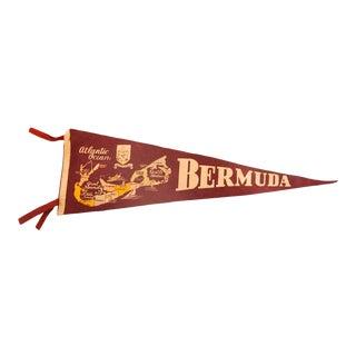 Vintage Bermuda, Atlantic Ocean Felt Flag Pennant