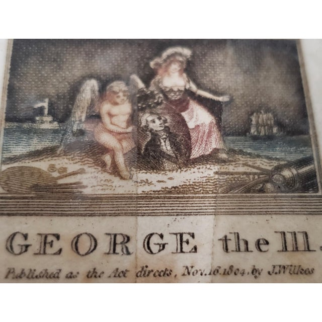 Early 19th Century Hand Colored Miniature Portrait Engraving of King George III C.1804 For Sale In San Francisco - Image 6 of 7