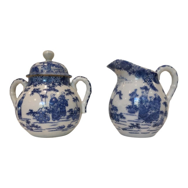 Vintage Chinoiserie Blue and White Creamer and Lidded Sugar Bowl - Set of 2 For Sale