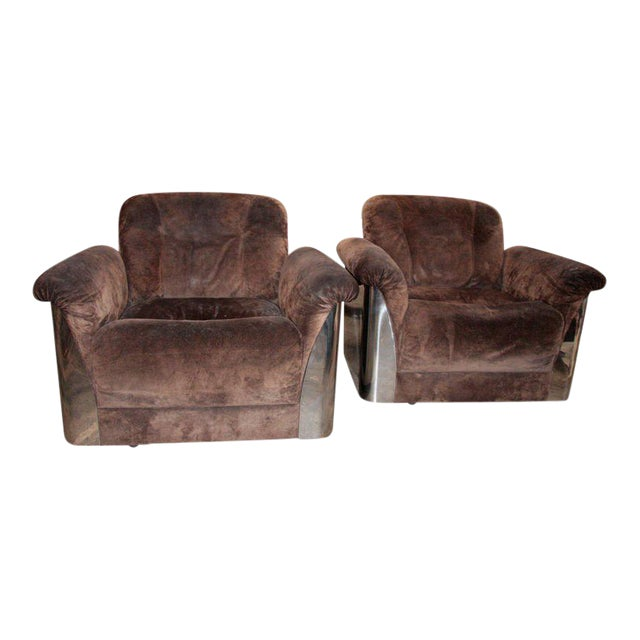Pair of Italian Leather Armchairs with Chromed Steel Bases For Sale