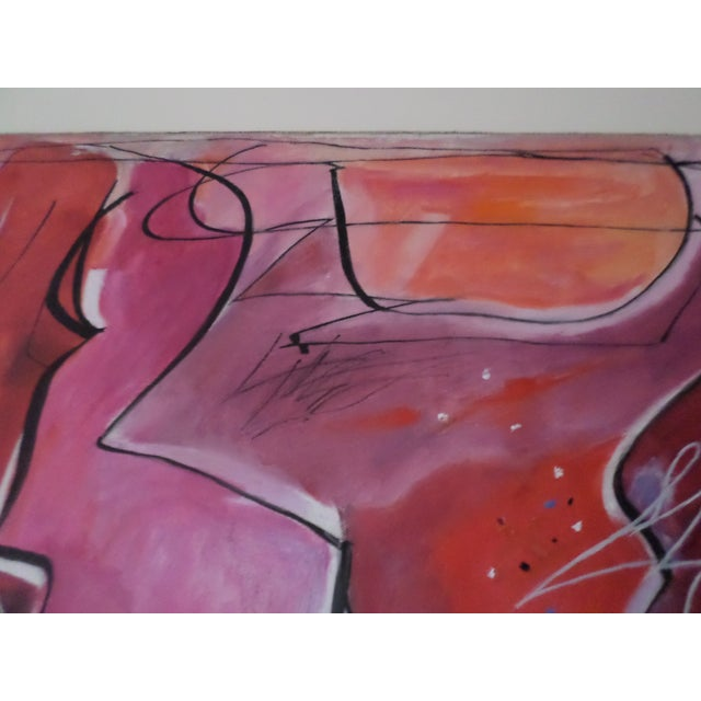 """Red Abstract Oil on Canvas by May Bender, """"Red Intrinsic"""" '98 For Sale - Image 8 of 13"""