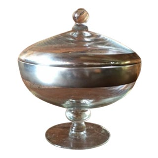 Vintage Dorothy Thorpe Silver Trim Candy Dish For Sale