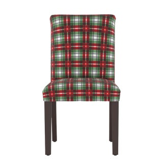 Dining Chair in Nicolas Plaid Green Oga For Sale
