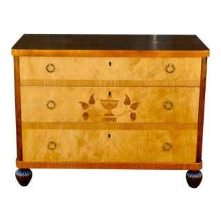1920 Swedish Art Deco Inlaid Dresser in Golden Birch Wood For Sale