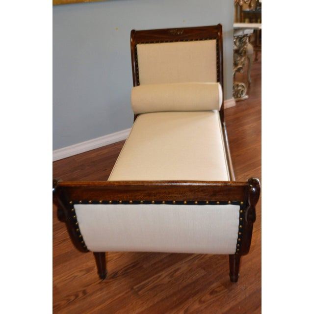Gold Empire Style Mahogany Chaise With Hand-Carved Swan Motif For Sale - Image 8 of 9