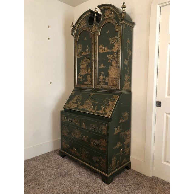 Metal Chinoiserie Emerald Green Color Secretary Cabinet For Sale - Image 7 of 9