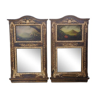 Neoclassical Wall Mirrors With Original Peter Edlund Oil Paintings For Sale