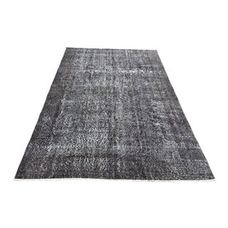 1960s Turkish Dark Gray Overdyed Rug For Sale