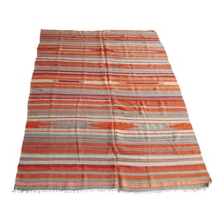 1950s Vintage Hand Woven Orange Tones Floor Kilim Rug For Sale