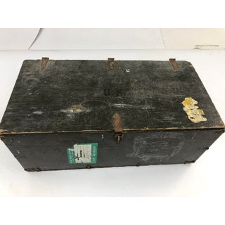 Vintage Industrial Wood Military Foot Locker With Tray Preview