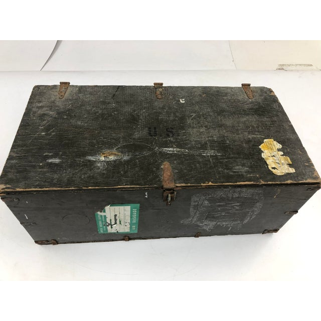 Vintage Wood Foot Locker. Beautiful original drab green paint. Piece sits flat and flush. Lid works great. Has a hasp that...