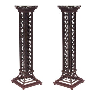 Pair Of French Art Deco Wrought Iron Pedestals For Sale