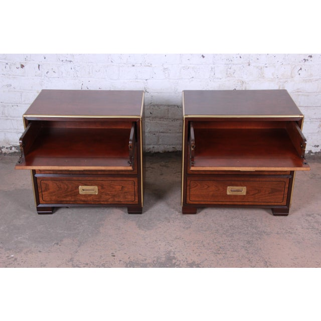 Baker Furniture Campaign Walnut and Brass Nightstands - a Pair For Sale In South Bend - Image 6 of 13