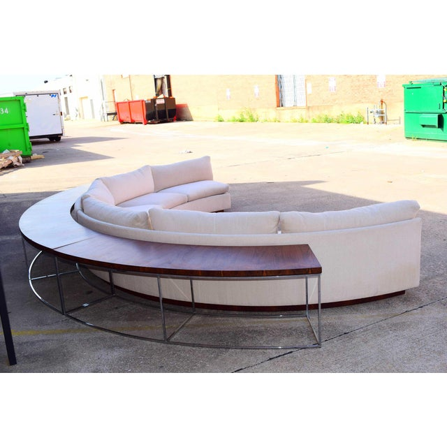 Mid-Century Modern Milo Baughman Semi-Circular Sofa With Rosewood Tables For Sale - Image 3 of 13