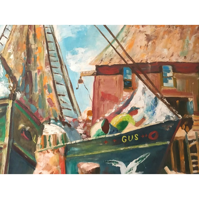 Vintage Oil Painting of a Harbor Scene with Ships C. 1950s - Image 5 of 5