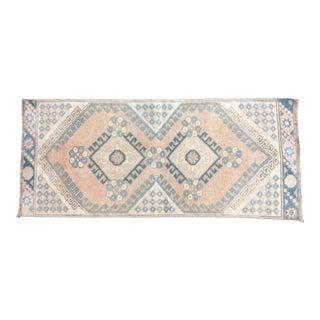 Vintage Geometric Design Turkish Handmade Peach and Blue Small Rug For Sale