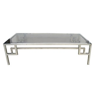 Modish French 1970s Chrome and Glass Rectangular Coffee/Cocktail Table For Sale