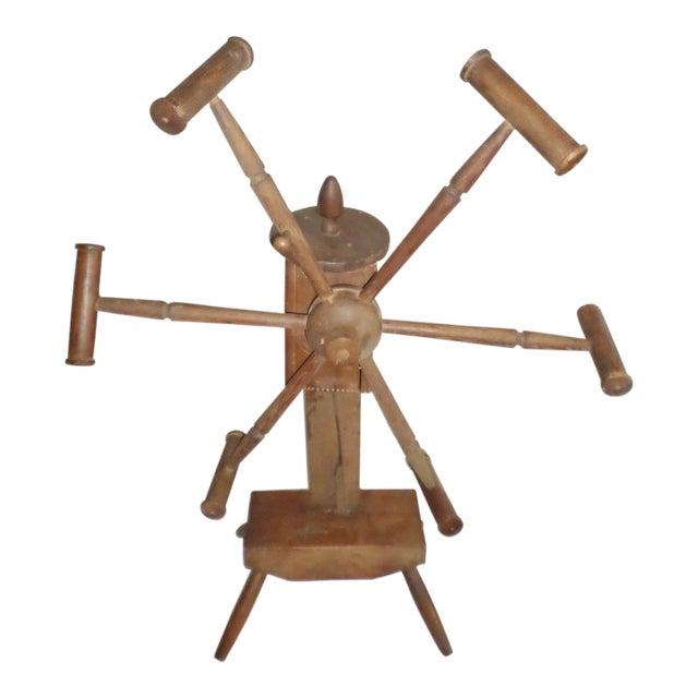 Antique Primitive Wooden Yarn Winder Spinning Wheel For Sale