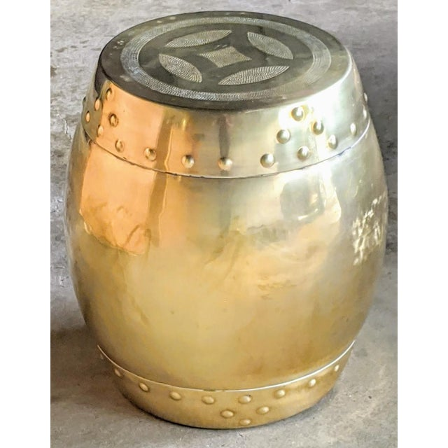 Brass Chinoiserie Brass Drum Stool For Sale - Image 8 of 8