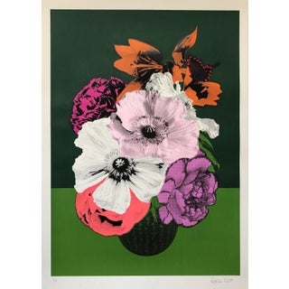 """Poppies and Lily"" Contemporary Floral Still Life Print by Rosha Nutt For Sale"