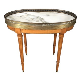 French Louis XVI Style Oval Oak Marble Topped Side Table For Sale