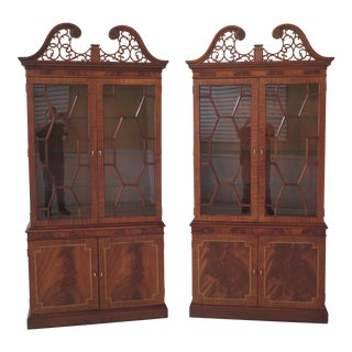 Councill Craftsmen Figural Mahogany 2 Door China Cabinets- A Pair For Sale