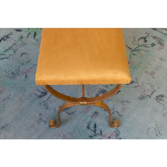 Gold 1950s Vintage Iron Suede Seat Bench For Sale - Image 8 of 10