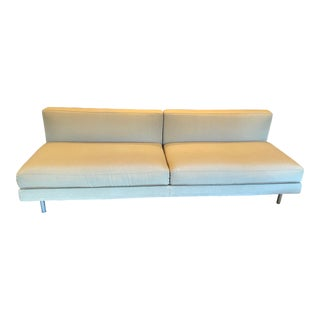 Italian Modern Cassina Armless Two Seat Sofa Upholstered in Knoll Textiles Quartz For Sale