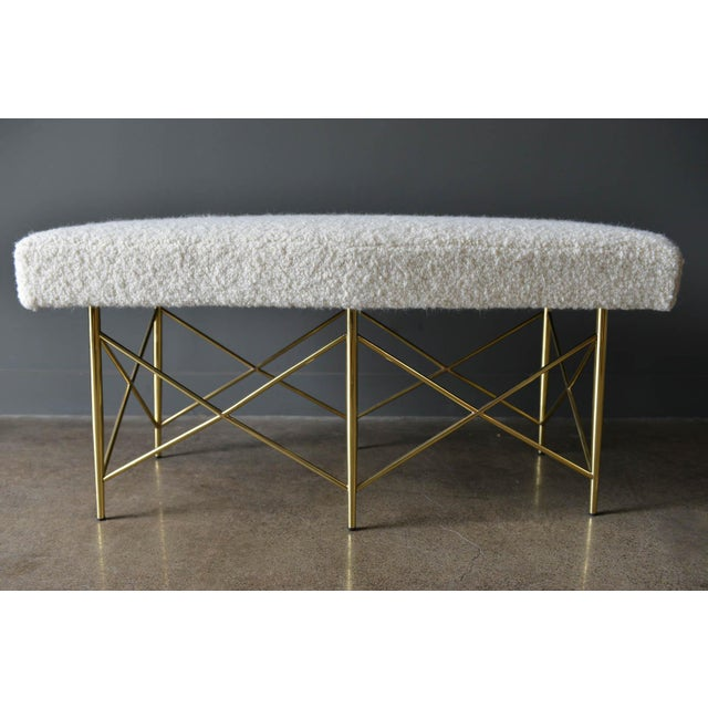 1970s Ivory Bouclé and Brass X-Base Ottoman Bench For Sale - Image 4 of 12