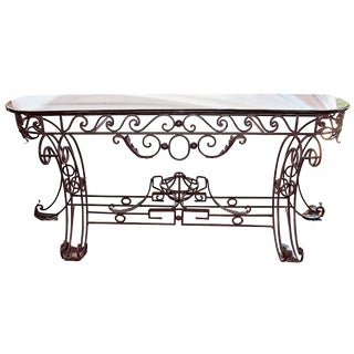 Iron & Marble Neoclassical Console For Sale