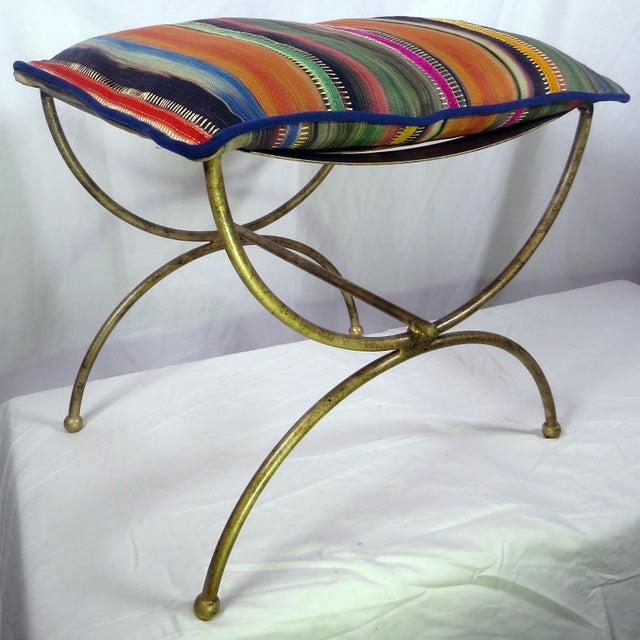 Colorful Kravet Pillow & Metal Bench - Image 2 of 5