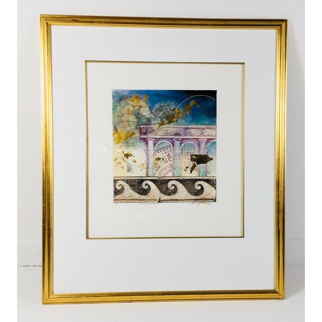 """Late 20th century artist signed watercolor in a classical theme; titled """"old world """""""
