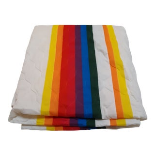 1960s Mod Rainbow Striped Queen Size Bedspread For Sale
