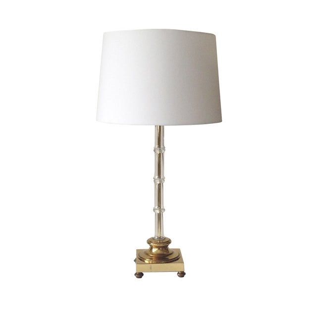 Glass Bamboo Table Lamp - Image 1 of 3
