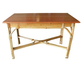 Restored Mid-Century Rattan and Mahogany Dining Table For Sale
