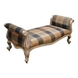 Silver Foil and Earth Tone Plaid Rococo Bench For Sale