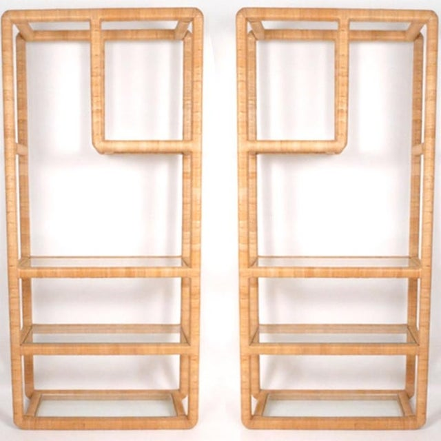 Midcentury Regency Rattan Cane and Glass Shelving Units - a Pair For Sale - Image 11 of 11