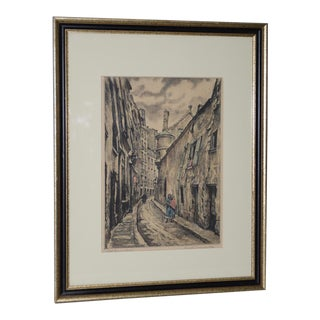 """Joseph Margulies (1896-1984) """"The Oldest Rue in Paris"""" Etching W/ Aquatinit C.1930s For Sale"""