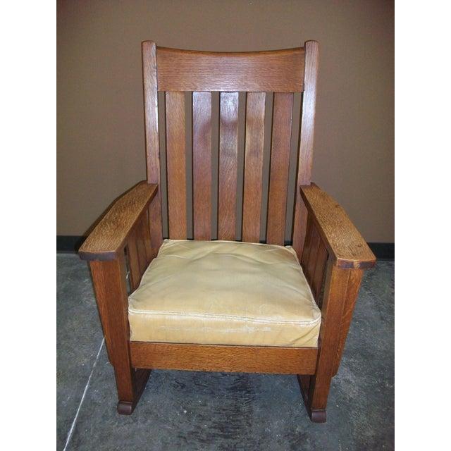 Antique Mission Oak Rocking Chair - Image 3 of 8 - Antique Mission Oak Rocking Chair Chairish