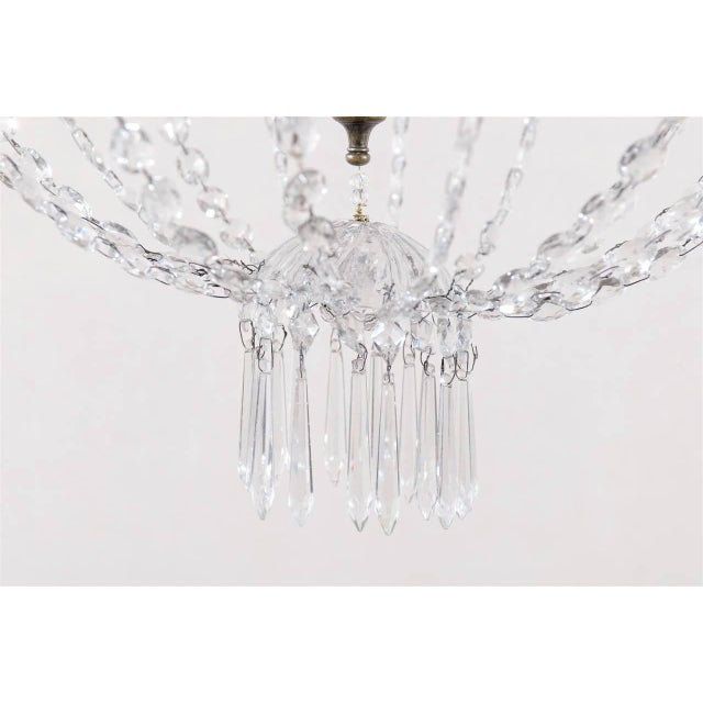 Transparent Italian Crystal Four-Light Chandelier With Crystal Center Column For Sale - Image 8 of 11