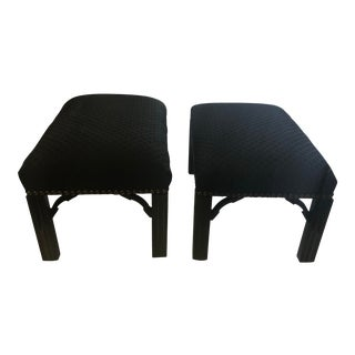 Empire Delicious Black Foot Stools - A Pair For Sale
