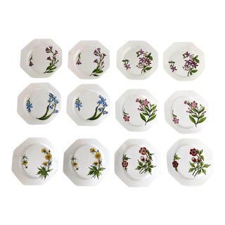 Este Ceramiche Italy Flower Lunch Plates - Set/12 For Sale