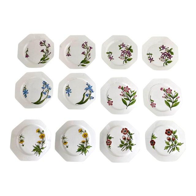 Este Ceramiche Italy Flower Lunch Plates - Set/12 For Sale