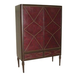 French Art Deco Leather Cabinet in the Manner of Andre Groult, 1930