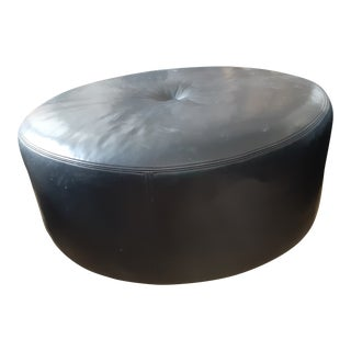 Black Triple Box Stitch Leather Ralph Lauren Style Round Bench/Coffee Table For Sale