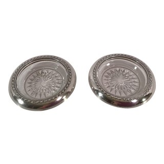 Sterling Silver Rimmed Glass Coasters - A Pair