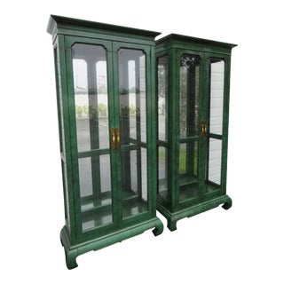 Hollywood Regency Painted Display Cabinet American of Martinsville - a Pair For Sale