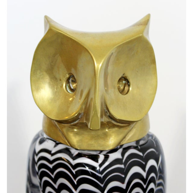 Brass Mid Century Modern Glass Bronze Brass Owl Table Sculpture Luca Bojola Italy For Sale - Image 7 of 11