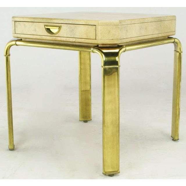 Contemporary John Widdicomb Cream Goatskin Side Table On Canted Brass Legs For Sale - Image 3 of 8