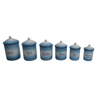 French Enamel Kitchen Canisters - Set of 6